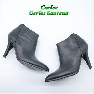 Carlos Santana Leather Black Heel bootie 8.5